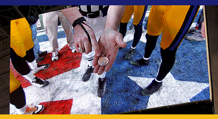 Coin toss at NFL game