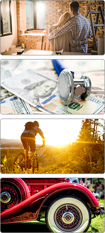 Couple remodeling house | Stethoscope over money | Cyclist riding into sunset on mountain path | Classic car