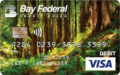 Visa Debit card with image of the redwoods