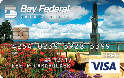 Visa Debit card with image of the surfer statue on West Cliff
