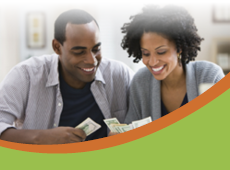 Ad for GreenPath: two people counting their money