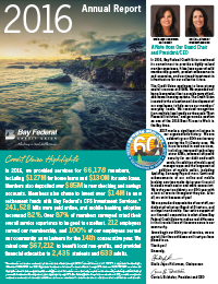 Bay Federal Credit Union 2016 Annual Report thumbnail image